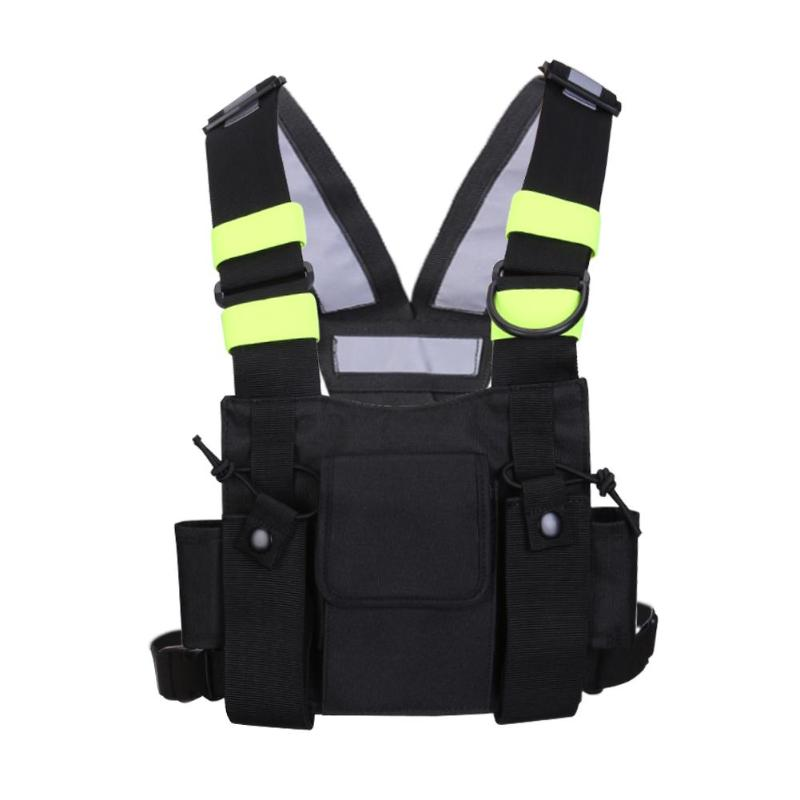 Black Nylon Two Way Radio Pouch Chest Pack Pocket Walkie Talkie Bag Holder Carry Case For Motorola CP040 Baofeng UV-5R