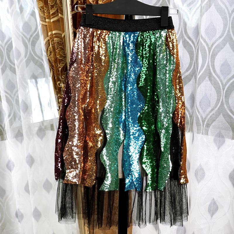 Sequin Gaze Vague Automne Plissée Mode Rayé Femmes Piste Jupe Faldas Sexy Mujer Jupes Tulle Femme De 2018 Moda Luxe 4fqtwaf