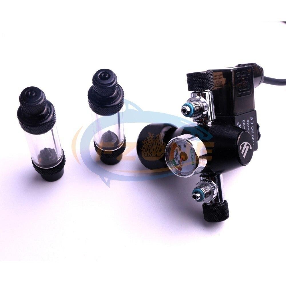 Acuario Wyin doble salida calibre CO2 regulador con válvula de contador de burbujas de válvula de solenoide y Kits de instalación - 2