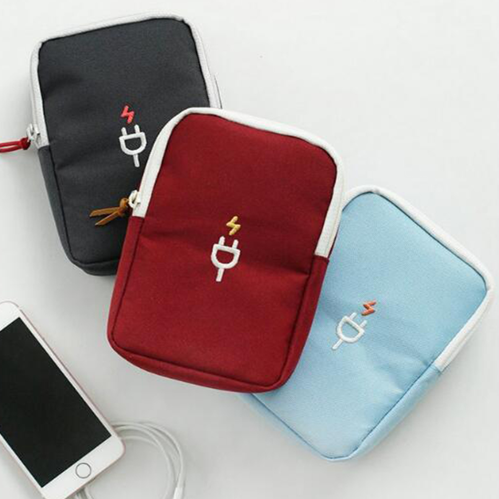 Phone USB Cable Earphone Charger Box Bag Portable Digital Device Organizer Travel Headphone cable digital Storage Bags