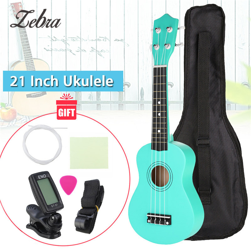 21 Inch Uke Hawaii Basswood Soprano Ukulele Musical Green Mini Guitar With Gig Bag + Tuner + Pick + Strap + Cleaning Cloth Sets