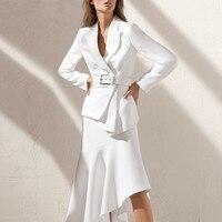 Высокое качество платье костюм для женщин 2018 Новое поступление офисная работа для женщин Белый Блейзер пиджак формальная Деловая одежда ко