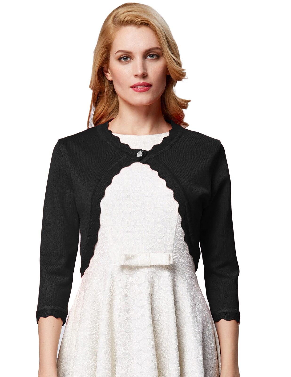 Women Coats Casual Lightweight Knitting Sweater Trim 3/4 Sleeve One Button Knitting Bolero Shrug 2019 Women Coat Jacket