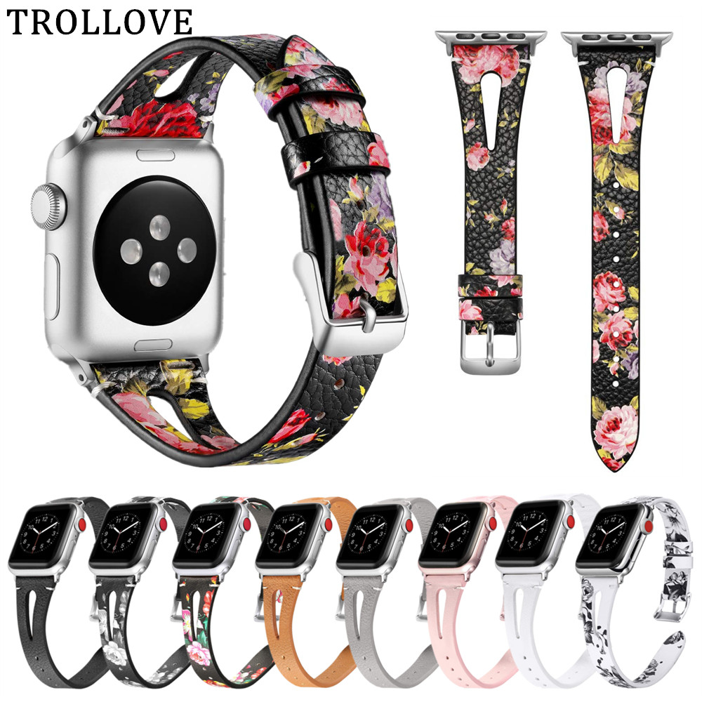 Leather Strap for Apple Watch Band 42mm 38mm Floral Printed Replacement Bracelet Wrist Belt for iwatch 4 44mm 40mm Series 4 3 2Leather Strap for Apple Watch Band 42mm 38mm Floral Printed Replacement Bracelet Wrist Belt for iwatch 4 44mm 40mm Series 4 3 2
