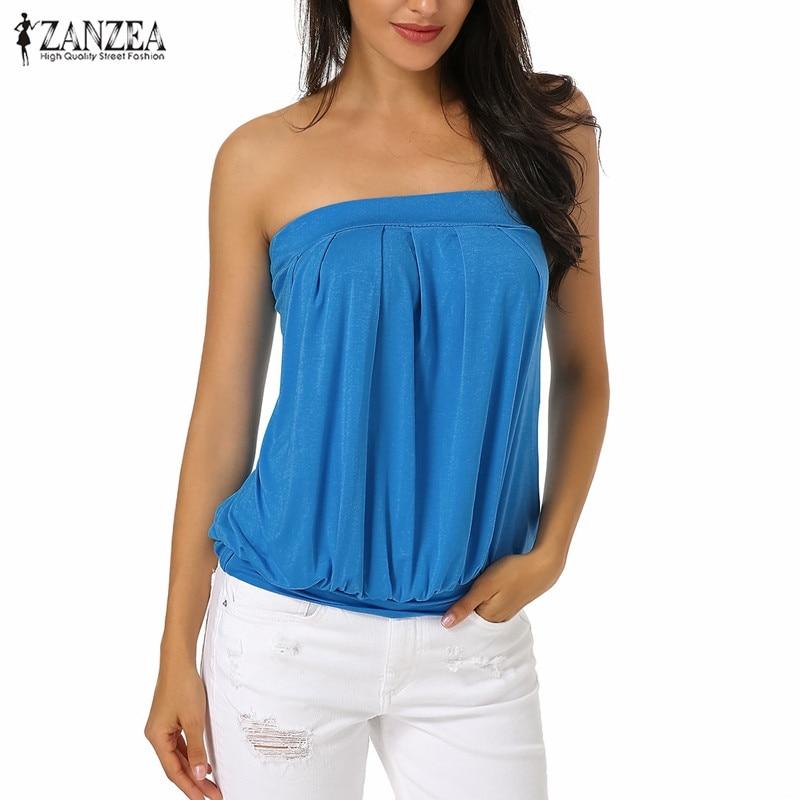 Plus Size Sexy Off Shoulder   Blouses     Shirts   Women ZANZEA 2019 Summer Slash Neck Sleeveless Backless Strapless Tops   Shirts   Blusas