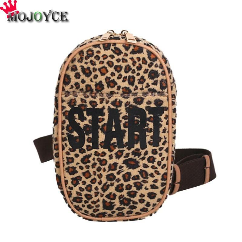 Retro Luxury Women Sling Shoulder Chest Bag Female Leopard Letter Print Chest Packs