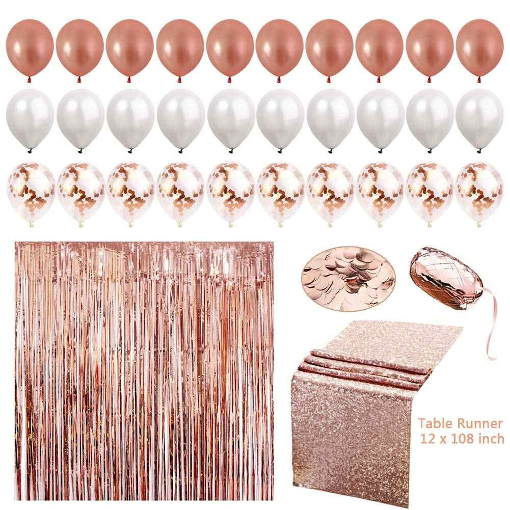 Zljq 21st Birthday Party Decorations Rose Gold Balloons Table Runner Happy Birthday Banner 21 Adult Birthday Decor Photos Prop