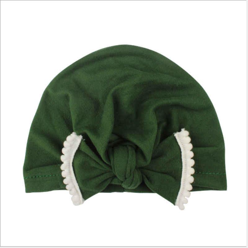 2018 ブランド新新生児幼児キッズベビー秋冬帽子ちょう固体コットンビーニーキャップ 6 色