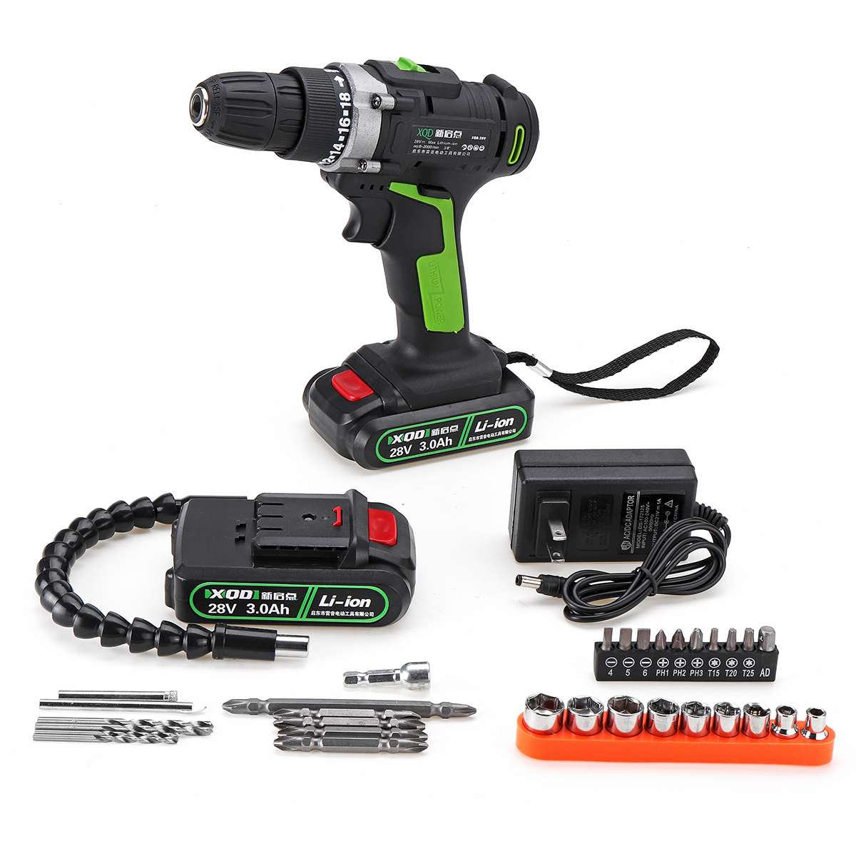 28V 3000mAh 2 Battery Double Speed Electric Impact Cordless Drill 18+1 Clutches Wireless Electric Drill  Home DIY Power Tool28V 3000mAh 2 Battery Double Speed Electric Impact Cordless Drill 18+1 Clutches Wireless Electric Drill  Home DIY Power Tool