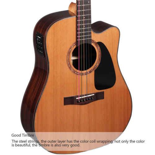 6 アコースティック古典的な鋼のセットギター弦ミディアムゲージ交換の木製ギターギター弦 E-A 真鍮色