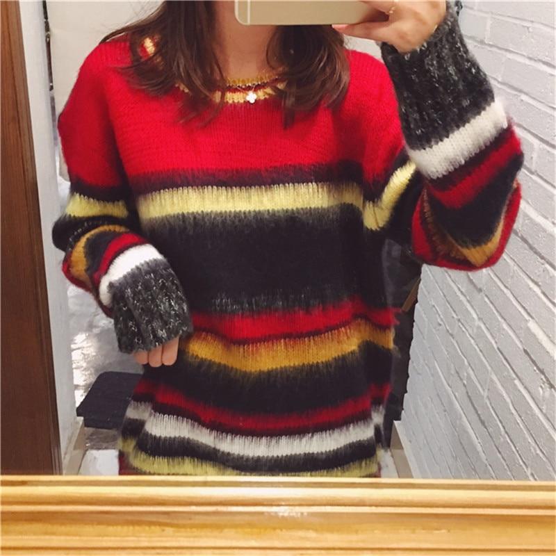 Doux Coréenne Chandail Rayé En Hiver Jumper Femmes 2018 Pulls Style Couleur Mohair Longues À Pull Tricot Vêtements Manches Harajuku 4wWf8O