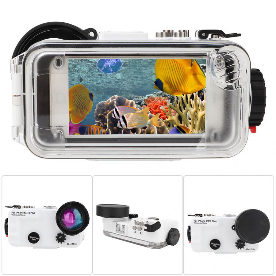 60m 195ft Waterproof Diving House Underwater Mobile Phone Case for iphone 6p 7p 8p