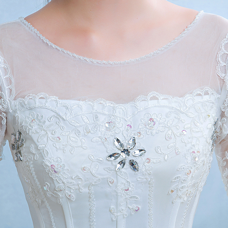 Image 4 - Gorgeous Wedding Dresses Crystal Lace Appliques Tulle O Neck Lace  Up Ball Gown Formal Dresses For Wedding 2020 Vestido De NoivaWedding  Dresses