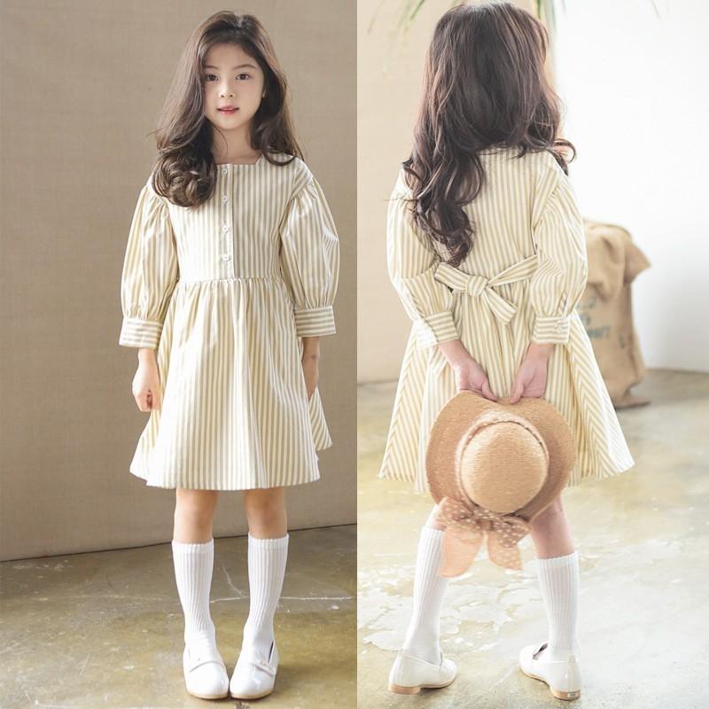 Длинные рубашки для девочек подростков, платья, повседневные топы на осень и весну 2019, Полосатое Хлопковое платье с оборками для маленьких детей, школьная одежда для девочек