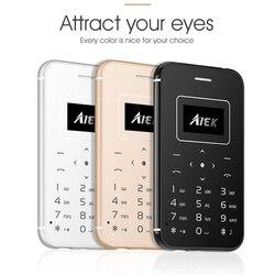 Aiek x8 telefone ultra fino cartão de crédito com bolso da tocha ceia móvel mini telefone simplesmente calculadora celular câmera livre bt 3.0