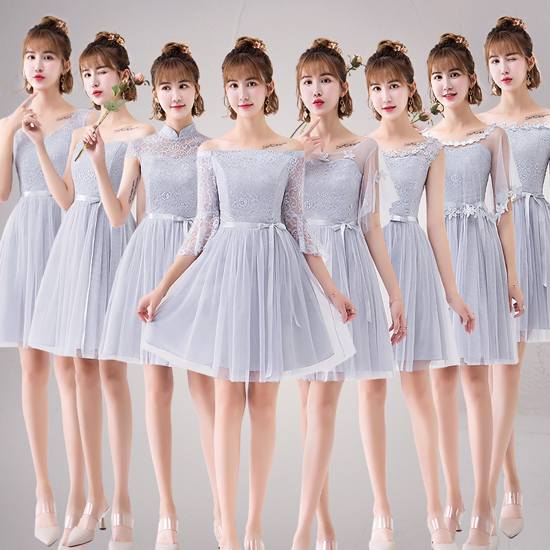 Lace Applique  Dinner Bridesmaids Bowknot Dresses Party Short Formal Dress Elegant Net Yarn Party Gowns