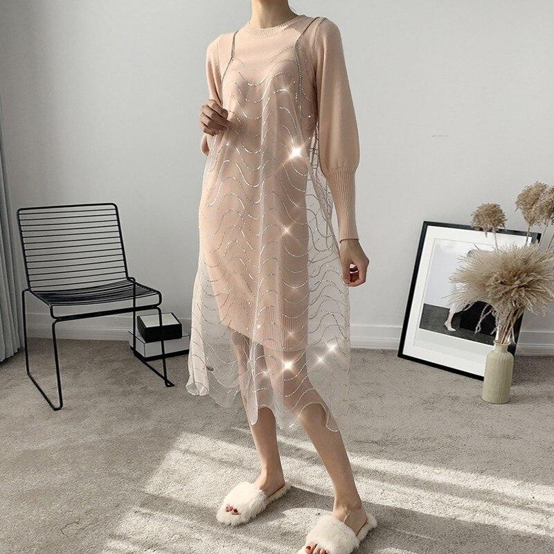 O Lanterne Manches Long Lourd Bretelles Twotwinstyle Printemps De Féminine Robe Deux 2019 Réservoir Perles À Cou Femmes Pink Pièces Costumes Tricoté Longues qXv575wt
