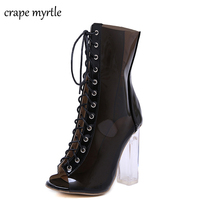 High Heels Summer Shoes Transparent shoes Ankle Boots Open Toe Thick Heels Women's Shoes lace up summer crystal boots YMA598