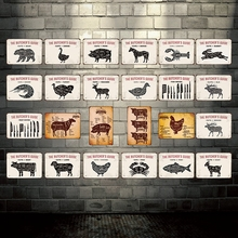 [ Kelly66 ]  The Butchers Guide Cuts Of Pork Metal Sign Tin Poster Home Decor Bar Wall Art Painting 20*30 CM Size Dy53