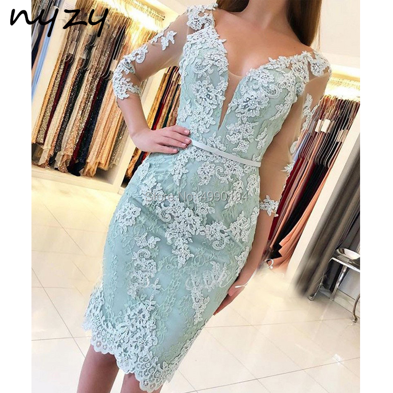 Robe de   Cocktail     Dresses   2019 Lace V Neck 3/4 Sleeves Short Formal   Dress   for Wedding party graduation homecoming NYZY C54
