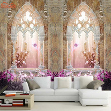 3d Photo Wallpaper for Walls 3d Mural Rolls Living Room Wall Paper Home Decor Decal European Style Castle Window Door Background