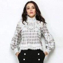 High Quality 2019 Summer Elegant Women Chiffon Plaid Blouse Shirt Designer Lace Long Sleeve Ladies Turtleneck Blouse Tops