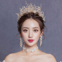 Wedding Tiaras for Brides Gold Crystal Hair Accessories Bridal Head Jewellery for Women Princess Crown Handmade Jewelry Headband