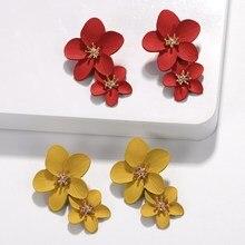 Red Yellow Flower Statement Large Drop Earrings Women Trendy Pendientes Dangle