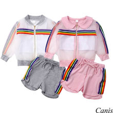 Hot Adorable 2019 NEW Toddler Kids Baby Girl Rainbow Hooded Coat Vest Pants Outfit 3Pcs UV Sunsuit Clothes Summer Sets