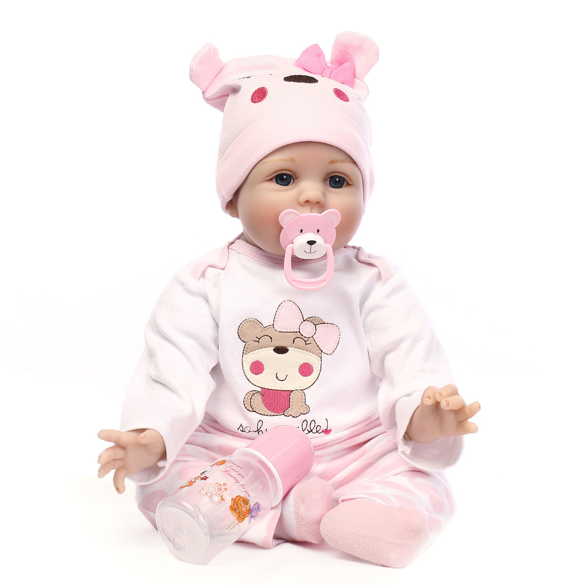 22 Inch 55cm Simulation Soft Silicone Reborn Dolls Cute Fashion Pink Skin Model Doll Toys Gifts For Kids Children #TC
