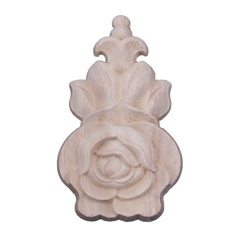 1x Rubber Hout Gesneden Hoek Craft Onlay Applique Meubels Deur Home Decor Retro (10*5 Cm) Modieuze (In) Stijl;