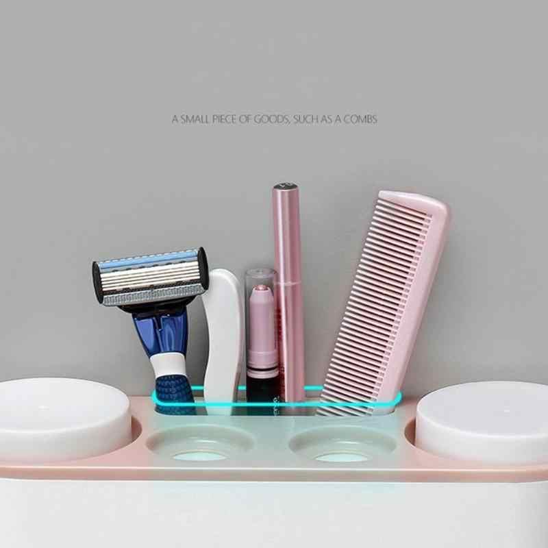 5 stojaków odporne na kurz uchwyt na szczoteczki do zębów z kubki dozownik pasty do zębów automatyczne pasta do zębów pasta do zębów ścienne stojąca półka łazienka Orga
