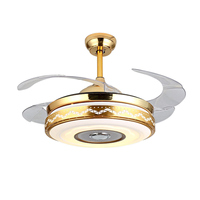 New Ultra Quiet 42 Retractable Hiddens Blade Ceiling Fan Lamp w/ Light Remote Control Dimmable LED Light 110 240V 70W