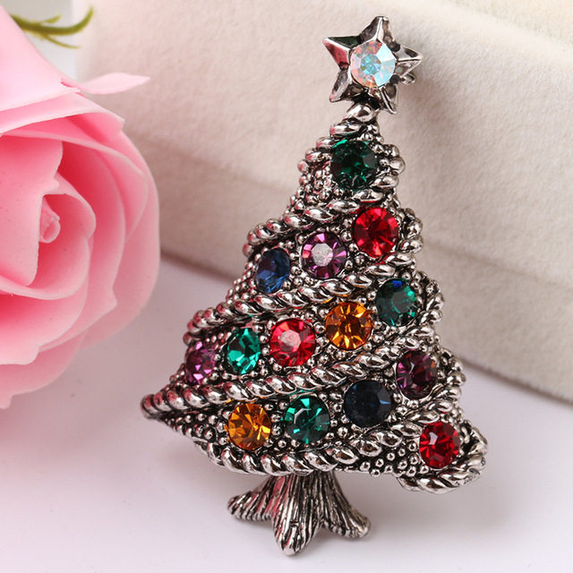 Creative Jewelry Vintage Antique Gold Silver Plated Crystal Alloy Brooch Pins Colorful Rhinestone Christmas Tree Brooches