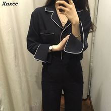 Spring Vintage Women's Shirt Blouses Full Sleeve V-Neck Black French Pajama Styl