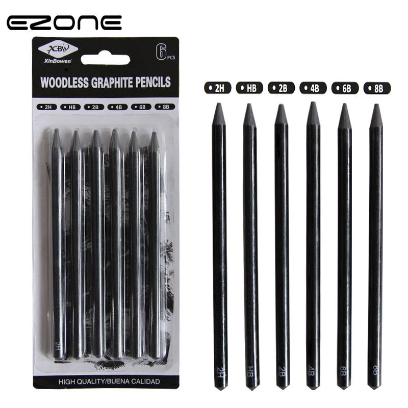 EZONE Professional Pure Carbon Sketch Pens Sketch Pencil 2B/4B/6B/8B/2H/HB Woodless Charcoal Pencil For Art Students Pencils