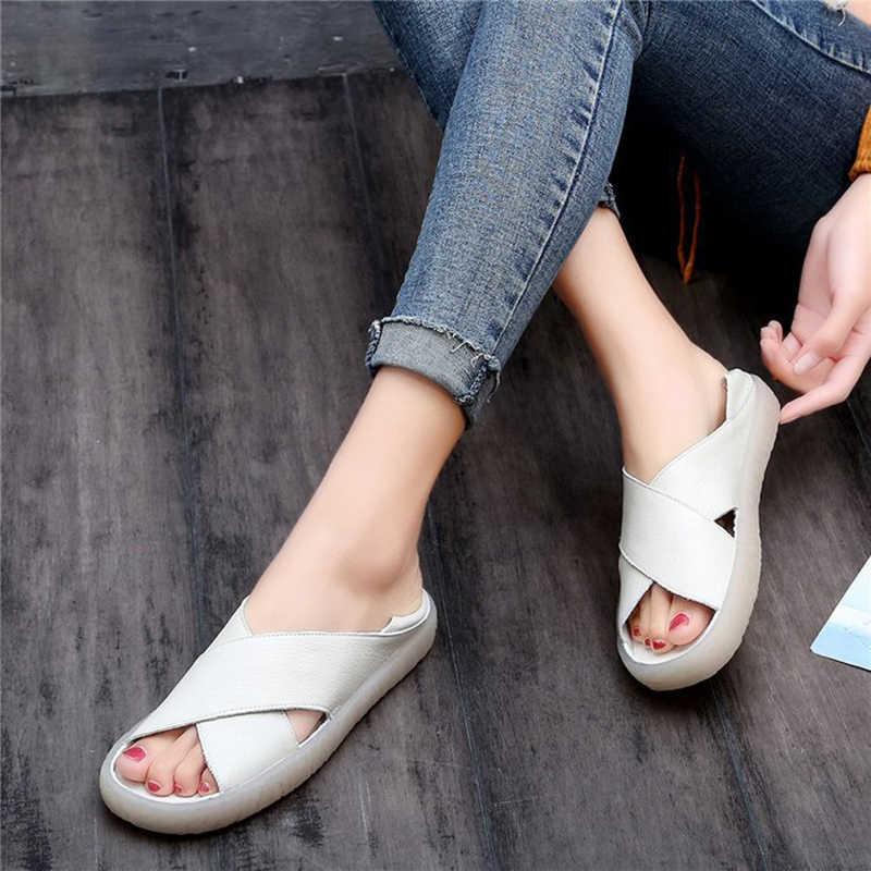 UPUPER 女性サンダル 2019 夏のカジュアル女性靴の革の女性フラットサンダルソフト底スリップサンダル手作り女性サンダル