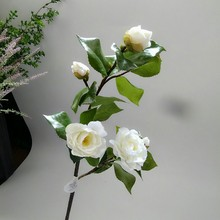 купить Fresh White Classical Camellia Simulation Landing Artificial Flowers Living Room Bedroom Coffee Table Bouquet Placed Corsage дешево