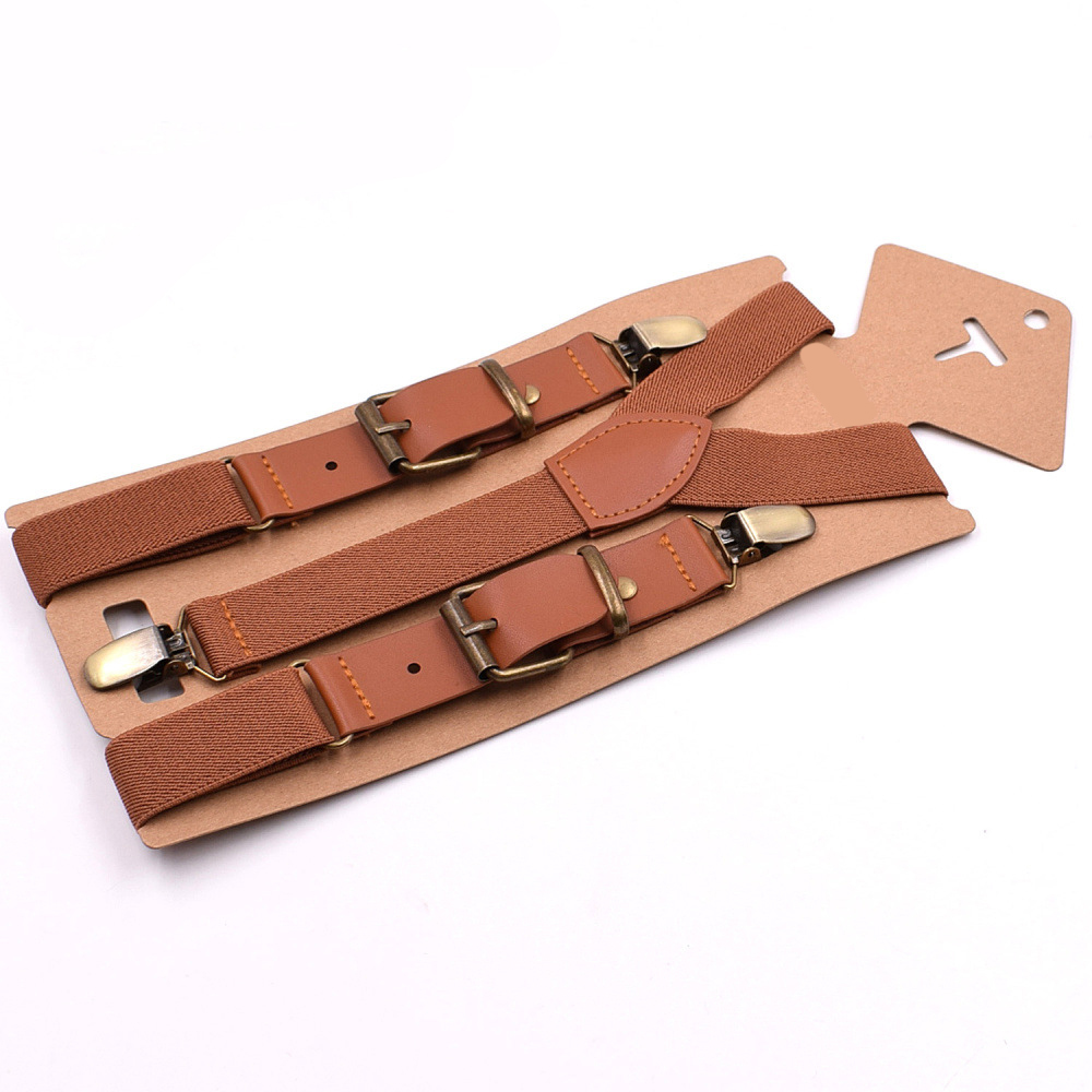 2019 New Monochrome Fashion Three Clip Children's Strap Clip Boys And Girls Sling Straps 2.5 Spell Leather Children Fashion