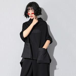 Image 3 - EAM T shirt manches longues col haut noir, ample avec couture avec poches, ourlet irrégulier, grande taille, à la mode femme, printemps automne 2020, JQ018