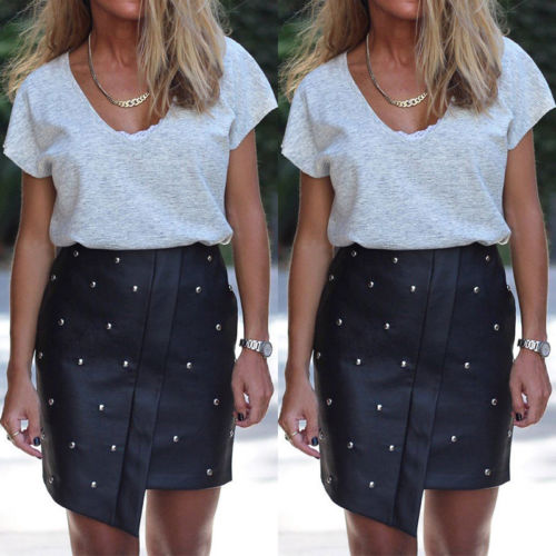 aa2a1d2d3 2019 Brand New Womens Sexy Beading Bandage Leather Skirt High Waist ...