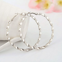 Womens Fashion Hoop Earrings Jewelry Gold Silver Color Twist Big Round Circle Vintage Elegant New