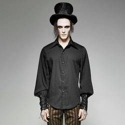 Punk Rave Men's Steampunk Pin Striped Casual Shirt Black Y-719