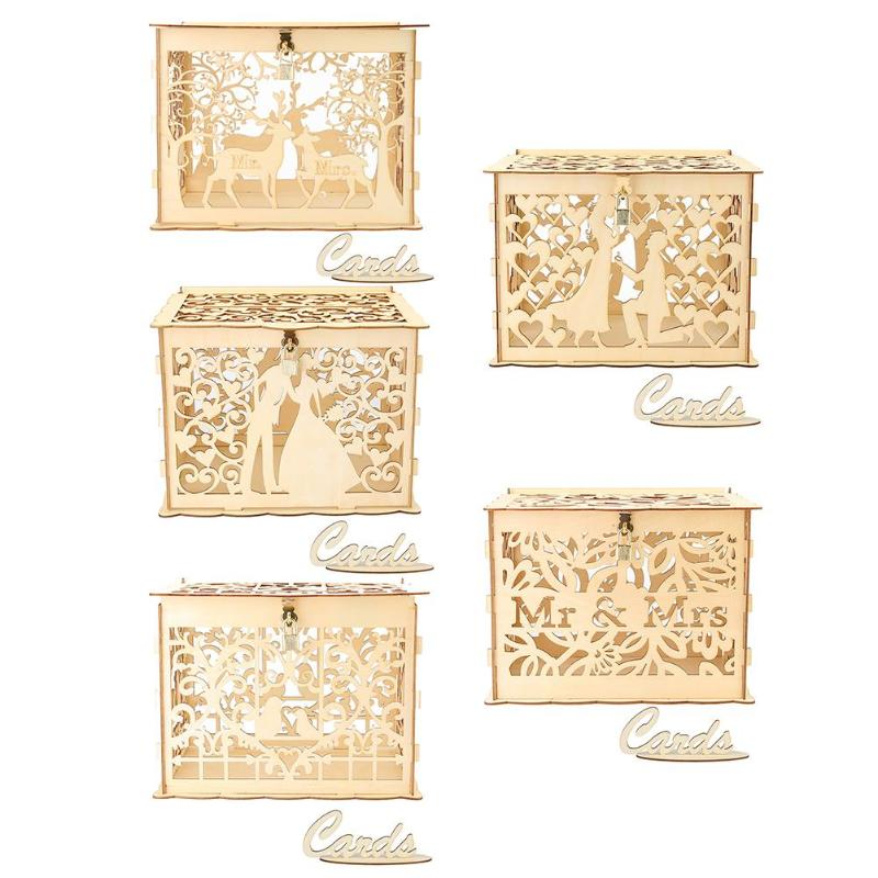 Sweet Carving Wooden DIY Wedding Case Supplies Card Holder Money Box CraftSweet Carving Wooden DIY Wedding Case Supplies Card Holder Money Box Craft