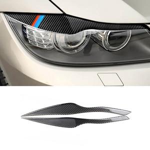 Image 2 - For BMW 3 Series E90 2005  2007 2008 2009 2010 2011 2012 2pcs Carbon Fiber Car Headlamp Headlights Eyebrows Eyelids Bumper Cover