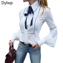 Lady White Slim Lantern Sleeve Career Shirt 2019 Women Office Bowknot Tie Shirt Tops Casual Single Breasted Blouse Plus Size цена 2017