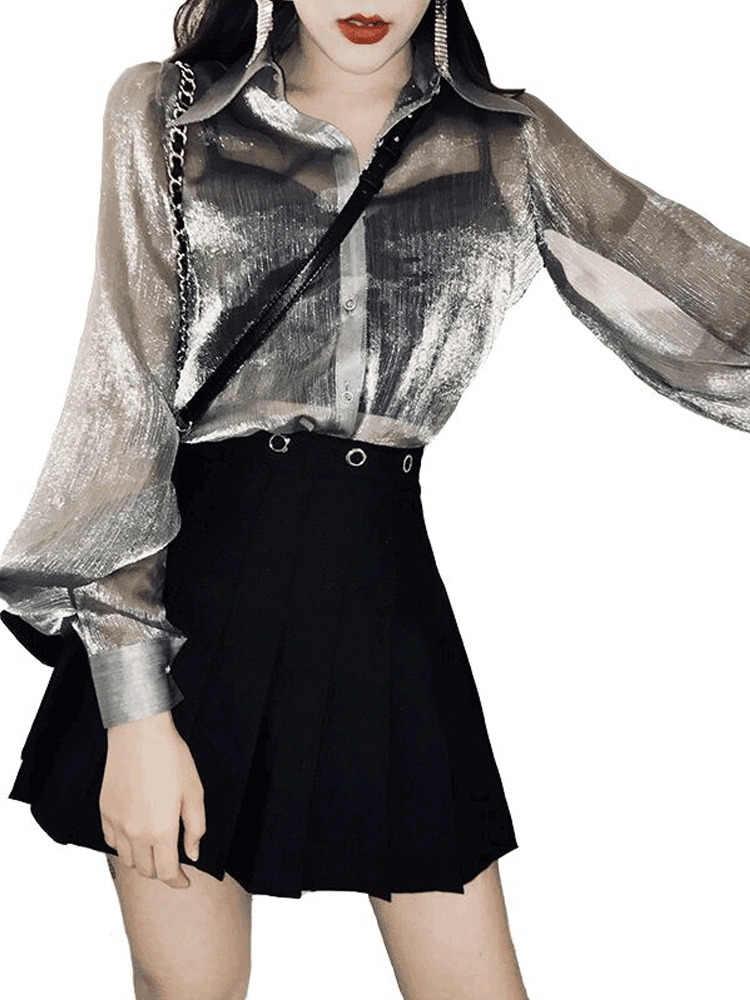 Vogue สีเทาเสื้อหลวมฤดูใบไม้ผลิป่าง่ายฤดูใบไม้ร่วงตรงยาววรรคพัฟแขนเดี่ยวแถวปุ่มเสื้อ