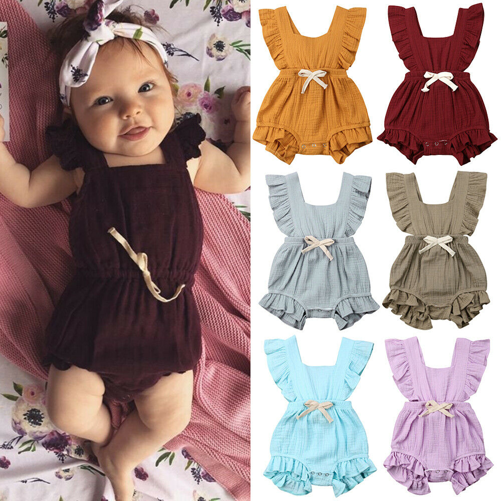 Cute Newborn Baby Girl Ruffles Sleeveless Backless Solid Color Cotton   Romper   Jumpsuit Outfits Summer Clothes