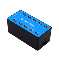 USB Smart with 10 Ports Power Adapter of Universal Compatibility Charging Station for Family and Office Use