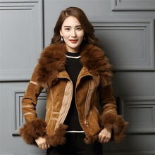 IANLAN Casual Winter Womens Real Fur Coats with Waistband Leather Jacket Silver Fox Collar & Cuff Trimming IL00005